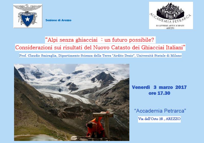Venerdì 3 marzo Conferenza: Alpi senza ghiacciai, un futuro possibile?