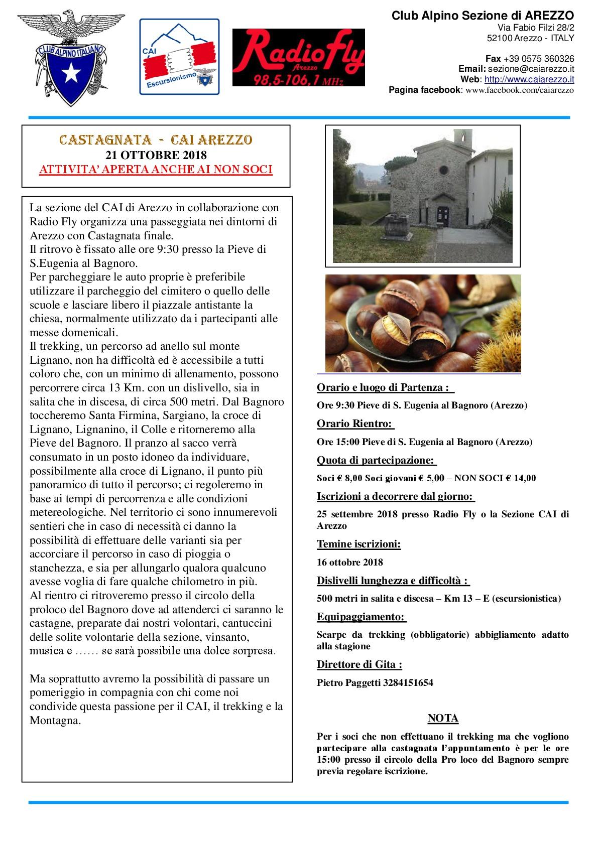 21 OTTOBRE 2018: CASTAGNATA