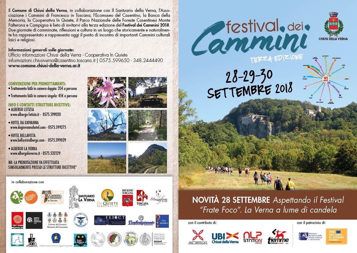Terza edizione del Festival dei Cammini 28 29 30 settembre