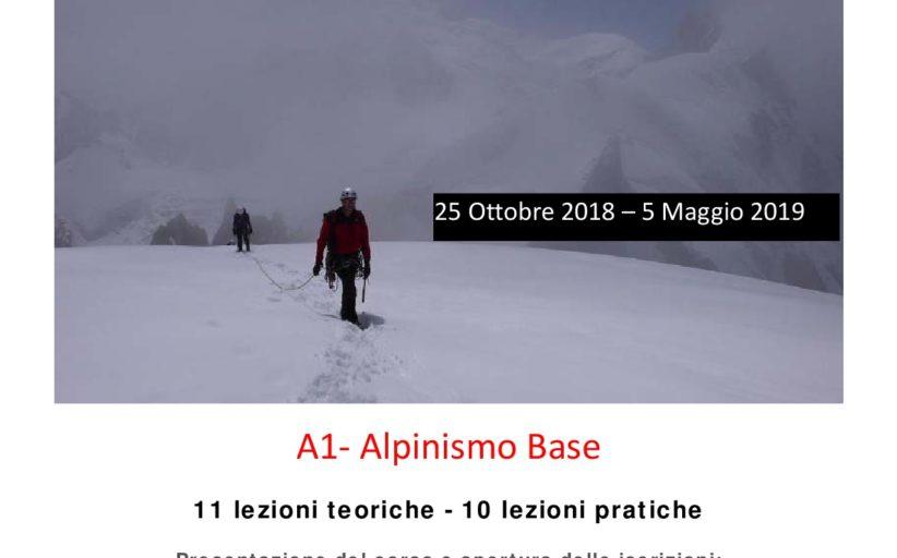 CORSO DI ALPINISMO DI BASE DA OTTOBRE 2018 A MAGGIO 2019