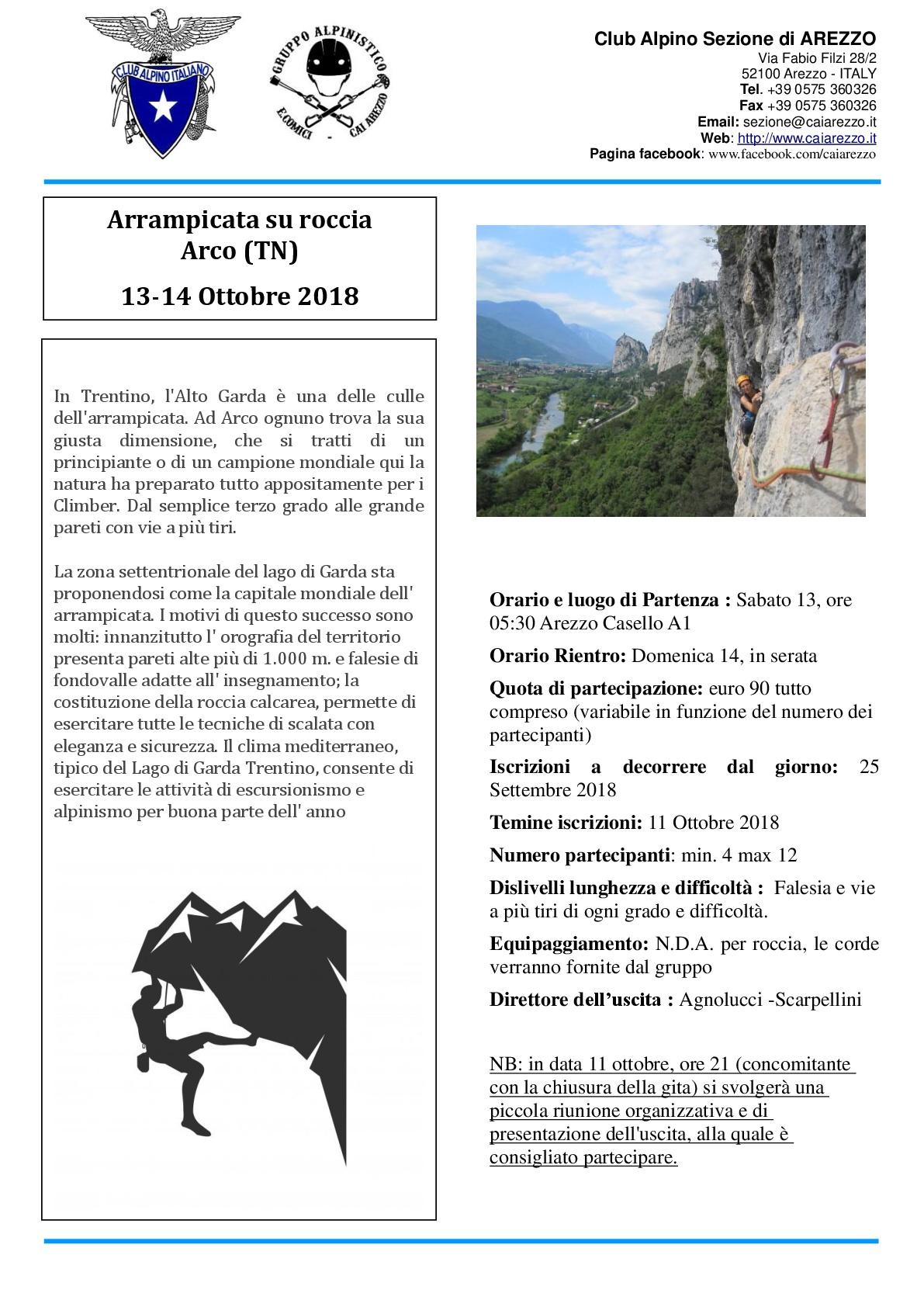13-14 OTTOBRE 2018: ARRAMPICATA SU ROCCIA - ARCO DI TRENTO