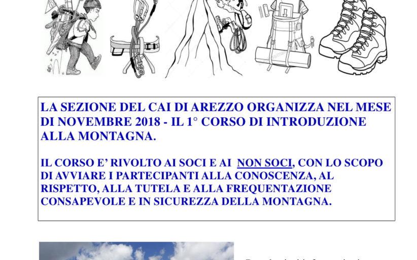 1° CORSO DI INTRODUZIONE ALLA MONTAGNA - NOVEMBRE 2018