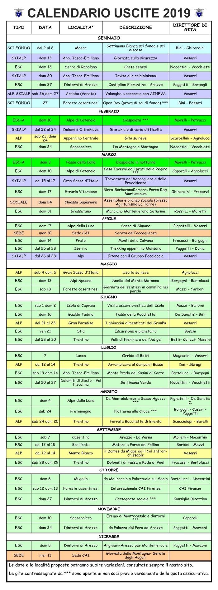 Calendario attività 2019