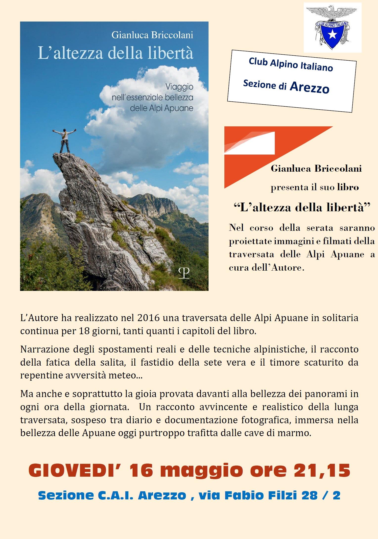 L'ALTEZZA DELLA LIBERTA' di GIANLUCA BRICCOLANI. GIOVEDI' 16 MAGGIO ORE 21.15