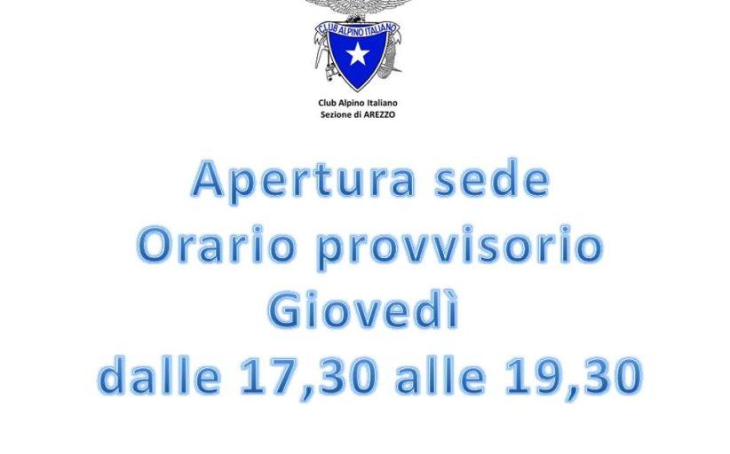 APERTURA SEDE con ORARIO RIDOTTO da Giovedì 21 Maggio 2020