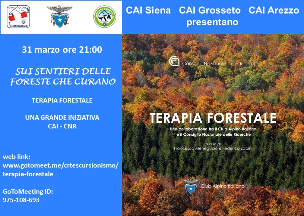 TERAPIA FORESTALE: EVENTO ON LINE MERCOLEDI' 31/03 ORE 21